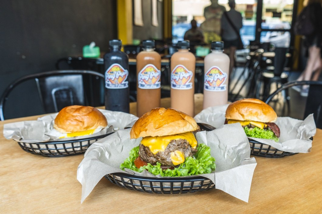 Photo: Burgers and Drinks