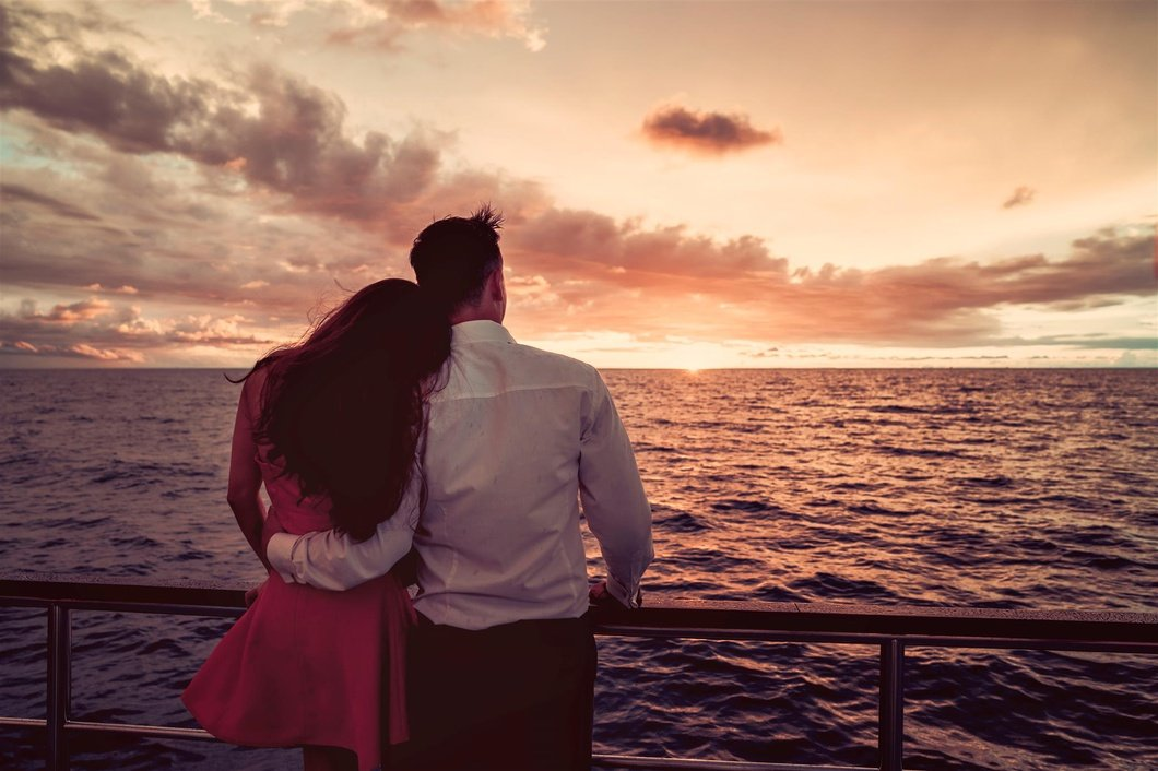 Photo: Couple watching sunset on North Borneo Sunset Cruise