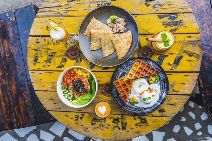 Photo: Biru Biru Waffles, Picollo Latte, Diabito, and Kaffir Lychee Lemongrass Slash